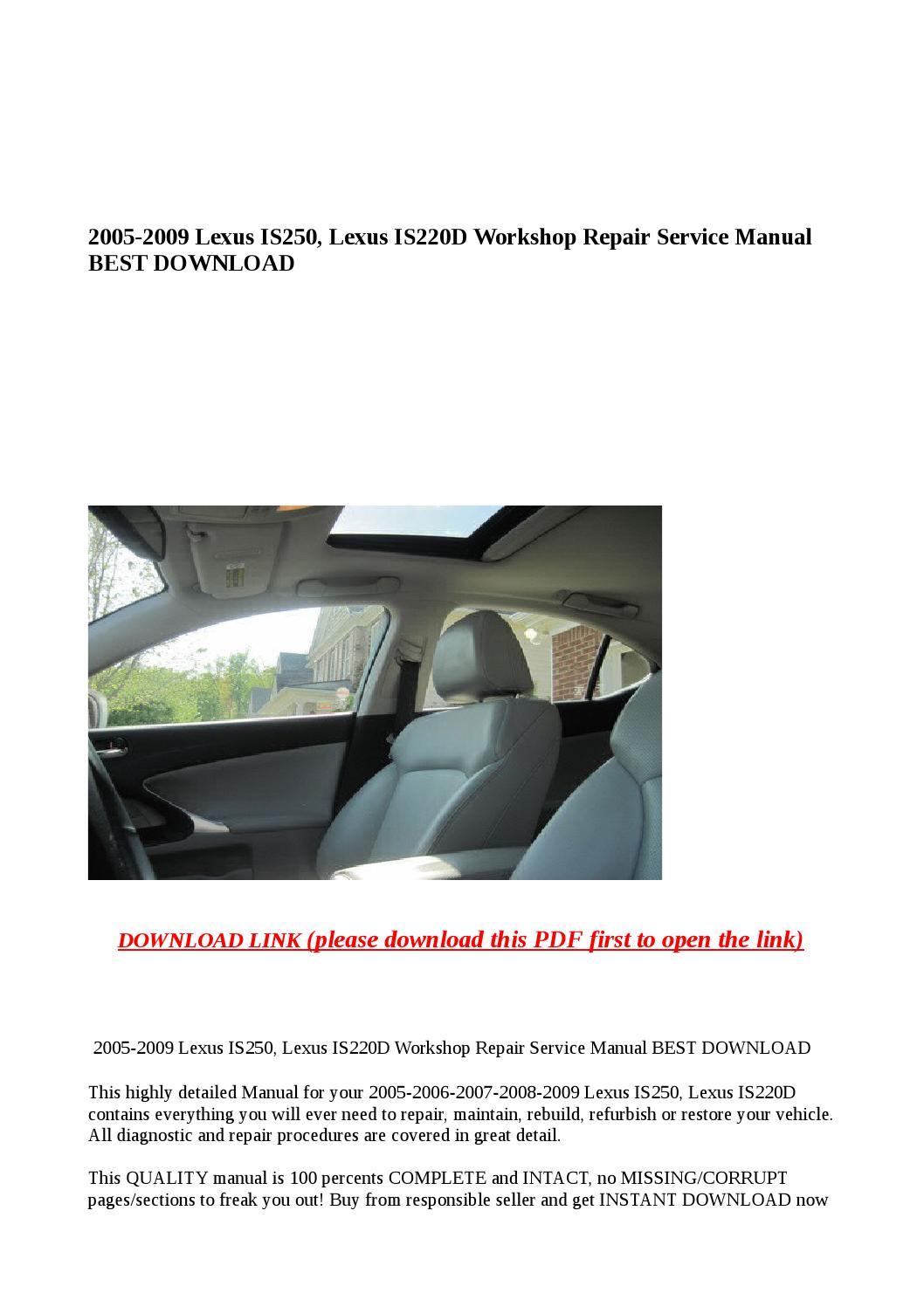 2007 lexus is 250 service manual pdf