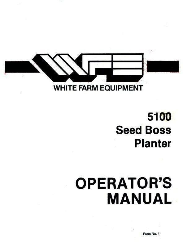 white 5100 planter parts manual