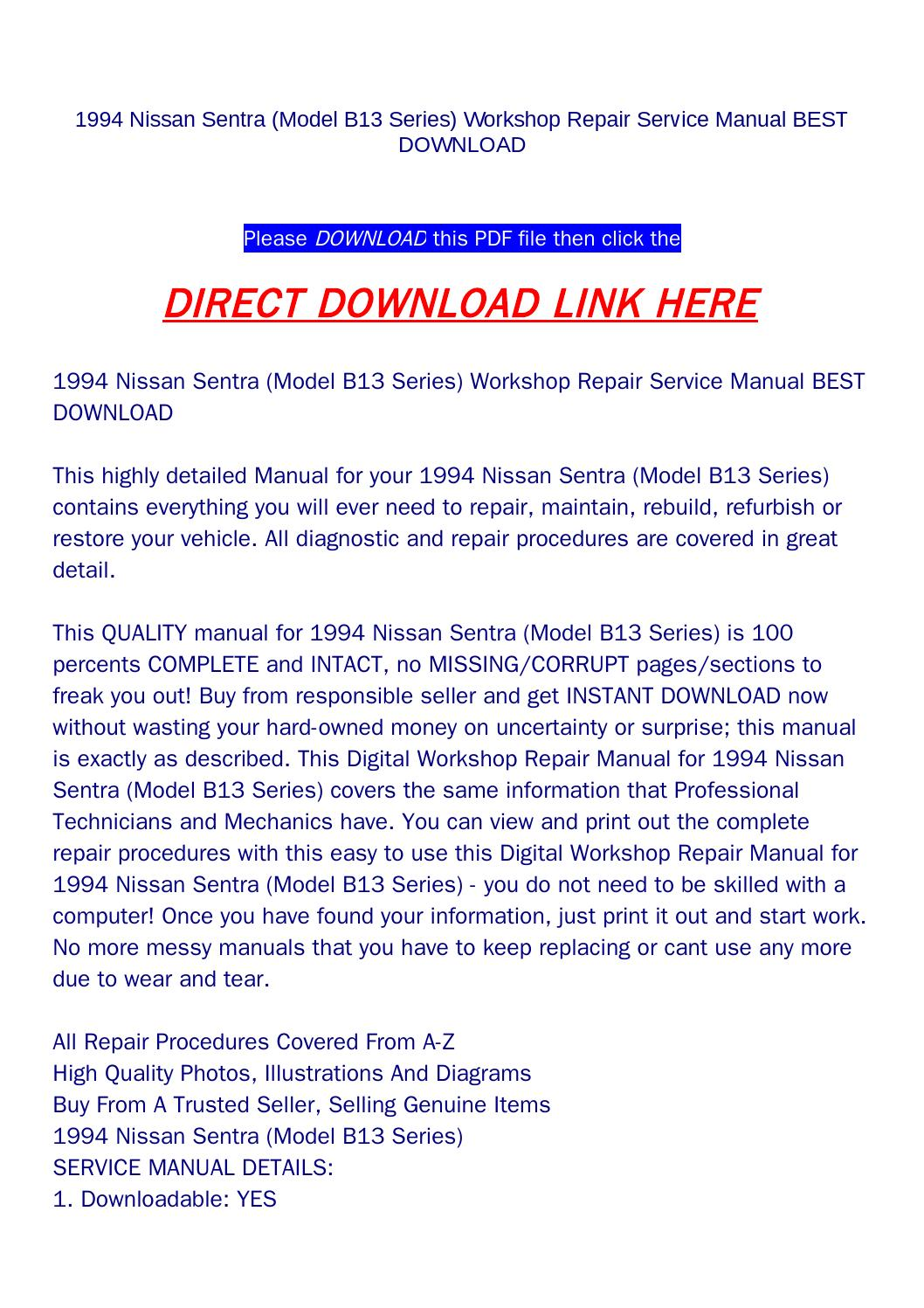 nissan sentra repair manual free download