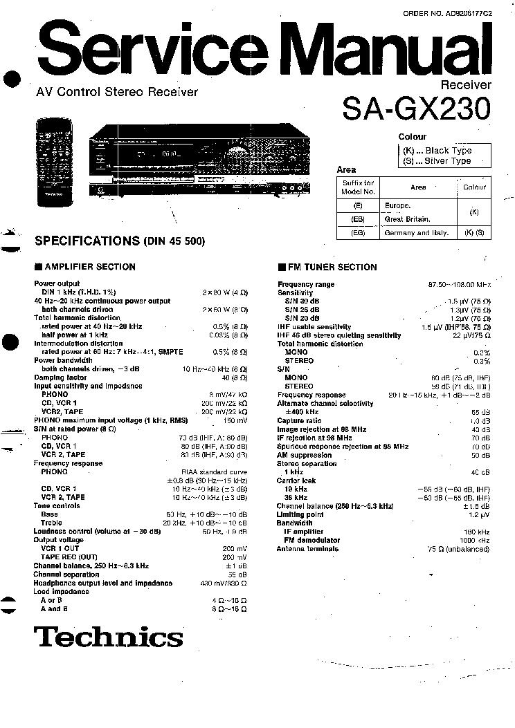 technics sa 5460 service manual