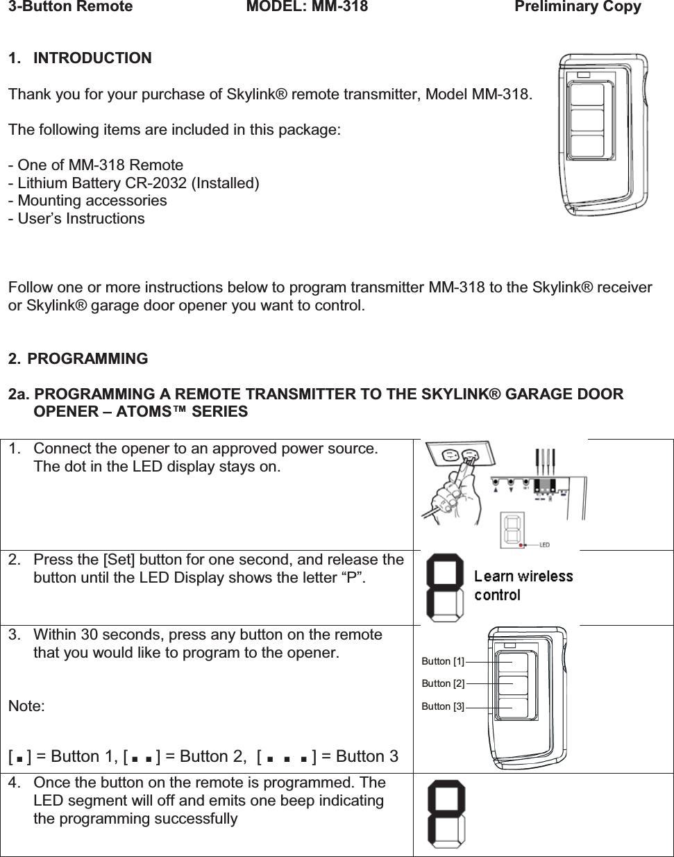 skylink g5 garage door opener manual
