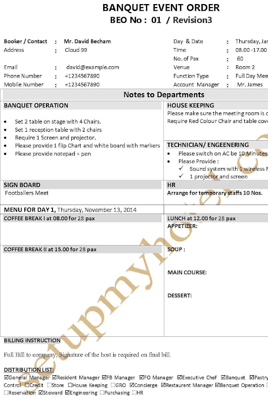 opera sales and catering manual
